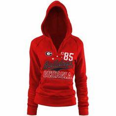 Georgia Bulldogs Ladies Rugby Distressed Deep V-neck Hoodie Sweatshirt - Red