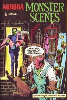 Aurora Monster Scenes comic page cover Sci Fi Horror, Horror Comics, Horror Art, The Frankenstein, Monster Art, Monster Toys, Creepy Monster, Horror Themes, Famous Monsters