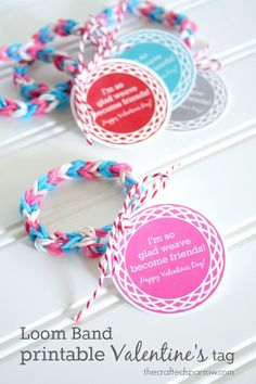 14 Awesome Free Valentine's Day Printables | rainbow loom tags = brilliant