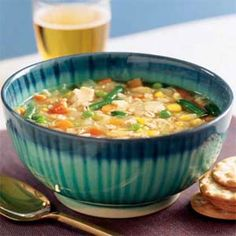 Chicken & Barley soup-I wouldn't use frozen mixed though. I hate lima beans.