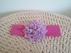 Bandeau de princesse fleur au crochet parme et fuchsia : Accessoires coiffure…
