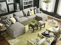 This series of sectional (pieces) comes in four arm styles and LOTS of fabrics - go with something off-white but easy to clean.  30 day deliv.  Double Chaise Sectional by Bassett Furniture