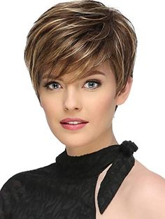 Short Fluffy Brown Mix Blonde Hair Wigs with Bangs Heat Resistant Synthetic Hair Capless Wig - Hairstyles For Women Short Grey Hair, Short Hairstyles For Thick Hair, Short Hair With Layers, Wig Hairstyles, Short Hair Styles, Haircut Short, Fashion Hairstyles, Hairstyles 2016, Natural Hairstyles