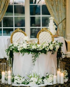 We draped this sweetheart table in a sheer gray and surrounded it with greenery, white florals and candles, which was perfect for this rustic winter wedding. Head Table Wedding, Wedding Table Linens, Bridal Table, Wedding Table Decorations, Wedding Centerpieces, Tall Centerpiece, Spring Wedding, Wedding Day, Wedding Reception