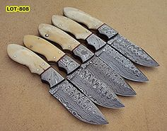 LOT808 Custom Handmade Damascus Steel Skinner Knife Set Lot of Five  Beautiful White Bone Handle with Damascus Steel Bolster >>> Read more  at the image link. (This is an Amazon affiliate link and I receive a commission for the sales and I receive a commission for the sales)