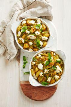 Gratin mit neuen Kartoffeln, grünen Bohnen und Pesto Genovese