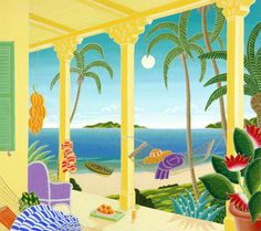 Bahamas Afternoon by Thomas McKnight Thomas Mcknight, Art Thomas, Caribbean Art, Small Canvas, Naive Art, Pictures To Paint, Beautiful Paintings, Prints For Sale, Art Images