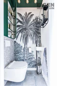 Space Saving Toilet Design for Small Bathroom - Home to Z Space Saving Toilet, Small Toilet Room, Guest Toilet, Wallpaper Toilet, Look Wallpaper, Wallpaper Murals, Bad Inspiration, Bathroom Inspiration, Bathroom Design Small