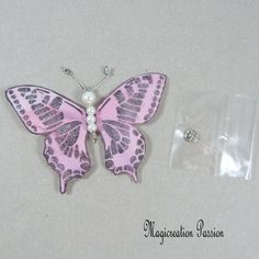 Papillon soie bouton pression rose 7.5 cm Creations, Brooch, Stud Earrings, Support, Dimensions, Passion, Jewelry, Pink Silk, Playing Card