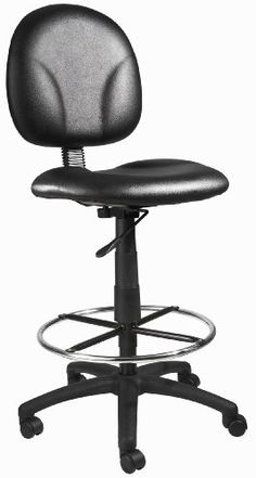Boss Office Products Stand Up Caressoft Drafting Stool without Arms in Black