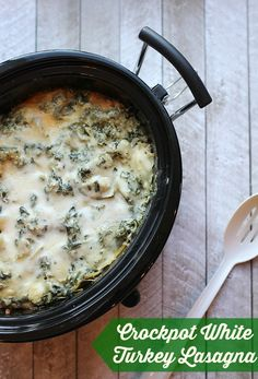 Crockpot White Turkey Lasagna recipe - everything you need for a warm and homemade meal in one pot!