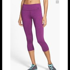 Nike Legend Compression Capris In great condition. Really comfortable for running or any fitness or leisure activity. Dri fit material wicks sweat and stays dry. Raspberry color is cute and different for spring!! Nike Pants Capris