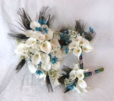 cascading bridal bouquets with peacock feathers | ... touch mini white calla lily peacock feather cascading bridal bouquet