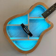 Guitar Crafts, Guitar Diy, Decoracion Habitacion Ideas, Large Shipping Boxes, Guitar Shelf, Music Furniture, Color Changing Lights, Cool Gifts, Gifts For Kids