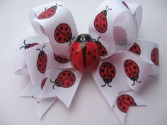 Sweet Ladybug Hair Bow by lillybellabows on Etsy, $11.50