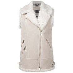 Burberry 'Brentdale' shearling vest jacket ($939) ❤ liked on Polyvore featuring outerwear, white and burberry