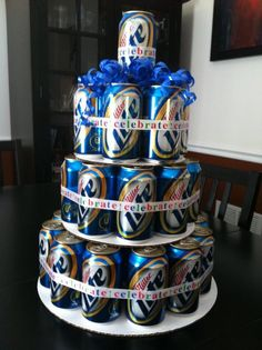 Beer Cake - in grooms room as a surprise. Neat!