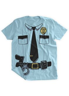 Funny Police Costume Tshirt Funny Police Uniform Cop Uniform Sheriff  Officer T shirt Halloween Costume Party Fun Police Badge Gun 0caf2003d4bd