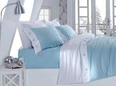 Cotton box Fashion Saten Düğmeli Nevresim Takımı Mavi
