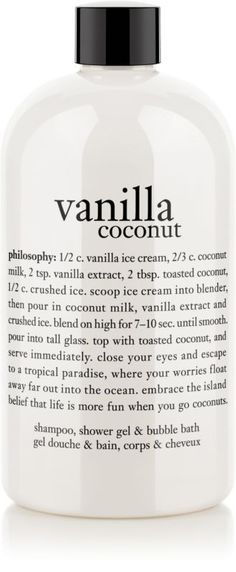 Philosophy Vanilla Coconut Shower Gel Ulta.com - Cosmetics, Fragrance, Salon and Beauty Gifts--I use these Philosophy gels for bubble baths.  I like to give them as presents, as they perform triple duty: shower gel, bubble bath, and shampoo.