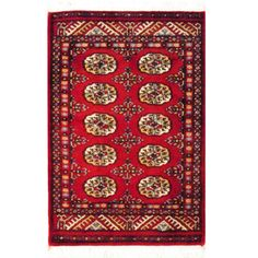 Pakistani Hand-knotted Red/ Ivory Bokhara Wool Rug (2' x 3')
