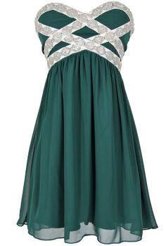 Embellished Chiffon Dress in Hunter Green