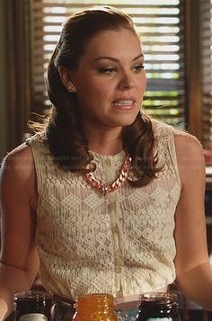 AnnaBeth's lace button front top on Hart of Dixie.  Outfit Details: http://wornontv.net/22891/ #HartofDixie