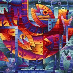 Ritual al agua y presencia de peces II 120 x 120 cm Tapiz tejido a mano