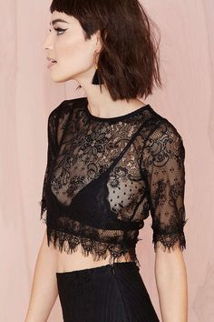 Wink Back Lace Crop Tee | Shop Tops at Nasty Gal