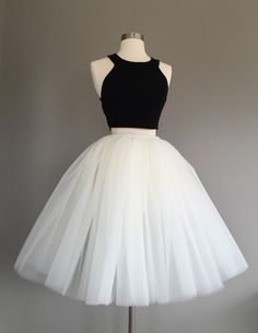Bridesmaids look: tulle white skirt and choice of black top
