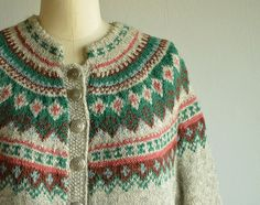 Vintage Norwegian Wool Fair Isle Cardigan / 60s by zestvintage