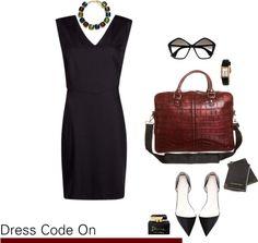 Mala crna haljina i ravne cipele za strogo poslovni izgled  Pri izboru male crne haljine za poslovne kombinacije ključno je nekoliko faktora: kroj, materijal i to kako nam pristaje. Kad ste pronašli savršenu crnu haljinu za posao, dodajte joj udobne i lijepe cipele, poput ovih ravnih na špic. Uz to biramo veliku dnevnu torbu. Modni dodaci su savršen način da naglasite svoj stil i psolovni stav. Odaberite zanimljivu ogrlicu ili maramu, profinjen sat i moderne i glamurozne sunčane naočale.