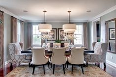 Transitional dining room in pale blues and creams