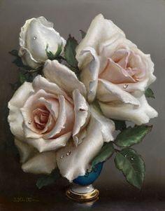 Irene Klestova - Still life with roses, oil on cardboard 24 x 19 cm. Art Floral, Flower Vases, Flower Art, Flower Arrangements, Love Flowers, Vintage Flowers, Cardboard Painting, Decoupage Vintage, Oil Painting Flowers