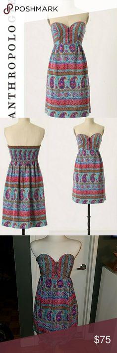 Anthropologie Maple Paisley 100% Silk Dress Anthropologie Maple Paisley 100% Silk Dress. colorful and fun. size 8. boho style. perfect for summer.  sundress designer. Anthropologie Dresses Strapless