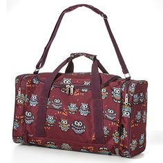 5 Cities Carry On Lightweight Small Hand Luggage Cabin on Flight & Holdalls/Duffel Weekend Overnight Bags - Large Duffle Sports/Gym Bag with Shoulder Straps. (Owls Burgundy)