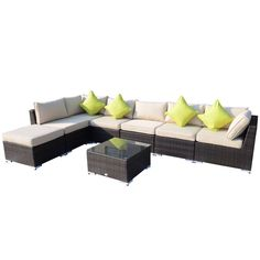 Outsunny 8PC RATTAN SOFA GARDEN FURNITURE ALUMINIUM OUTDOOR PATIO SET WICKER SOFA SET SEATER FIRE RESISTANT Sponge BROWN   Table Pillows Already Assembled >>> Click image for more details. #GardenFurnitureandAccessories