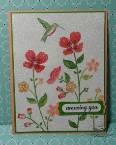 Wildflower Meadow: Apply Stampin`Up! markers directly onto the stamp, then cover in Versamark ink and Irredescent Ice Embossing Powder and set with the Heat Tool. By The Serene Stamper Card Making Inspiration, Making Ideas, Wild Flower Meadow, Beautiful Handmade Cards, Get Well Cards, Card Tags, Creative Cards, Flower Cards, Greeting Cards Handmade