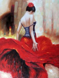 Flamenco Spanish Dancer Gypsy Bright Red Dress Flower In Hair 36X48 Oil Painting