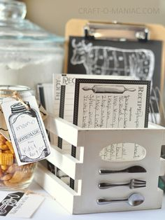 """diy recipe crate - the perfect place for your handwritten and vintage recipe cards.  7gypsies vintage crates are 4""""x6"""" and coordinate with the new Farmhouse Collection by Canvas Corp #canvascorpbrands #vintagecrate #recipebox #recipegift #DIYkitchengifts www.craft-omaniac.com"""