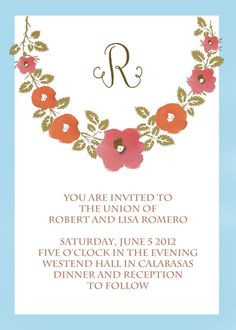 Watercolor flower invite