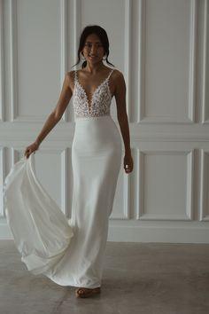 Can't decide on lace or a plain gown? Meet Tommy Crepe! She is elegant and charming with a subtle, daring edge that will captivate your senses. Meet, Gowns, Bridal, Elegant, Formal Dresses, Lace, Fashion, Vestidos, Classy