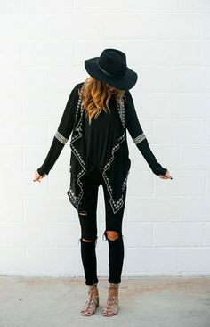 #winter #style #black #everyday #longsweater #tornjeans #hat