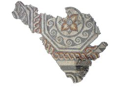 Octagon Fragment from Congregational Church. This mosaic was found when the Congregational Church site in Dyer Street was redeveloped in 1972. It dates from the second century AD and was probably laid in the same house as the Hunting Dogs and Seasons mosaics.