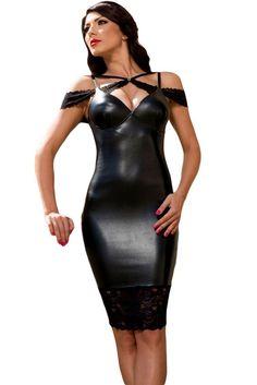 Sexy Sensual Leather Bodycon Midi Dress https://www.modeshe.com
