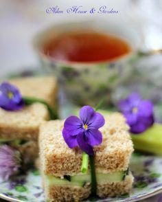 Cucumber tea sandwiches with violet  chive garnish