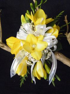 Yellow Freesia wrist corsage by Floral Expressions of Chapel Hill #Prom #Flowers #Bodyflowers #Livingjewelry