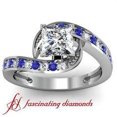 Wave Petite Diamond Intertwined Engagement Ring With Blue Sapphire Diamonds