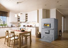 Tulikivi bakeoven is classic bakeoven for heating and baking. This bakeoven is ideal for a kitchen or kitchen/family room. Home Fireplace, Fireplaces, Log Fires, Kitchen Family Rooms, Wood Fired Oven, Stove Oven, Relax, Home And Garden, Cooking