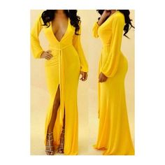 Rotita Yellow Plunging Neck Slit Design Dress ($24) ❤ liked on Polyvore featuring dresses, yellow, sexy maxi dress, v neck dress, maxi dress, print maxi dress and long sleeve maxi dress